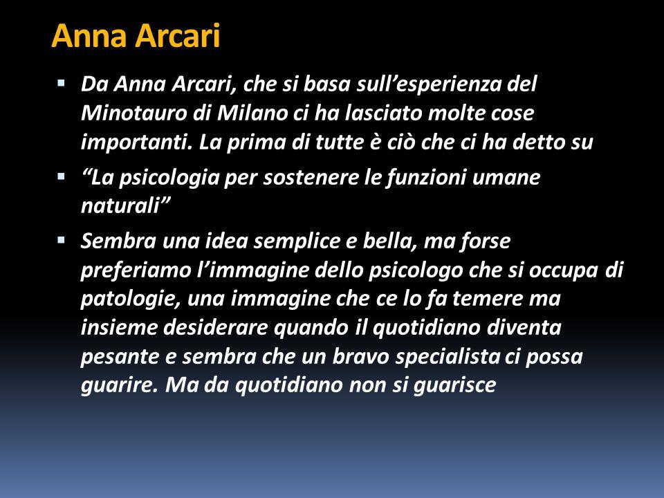 Anna Arcari  Da Anna Arcari, che si basa sull'esperienza del Minotauro di Milano ci ha lasciato molte cose importanti.