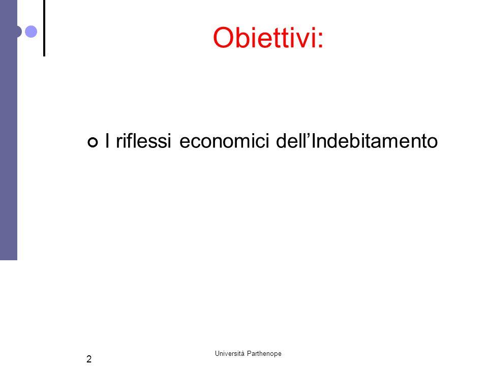 Università Parthenope 2 Obiettivi: I riflessi economici dell'Indebitamento