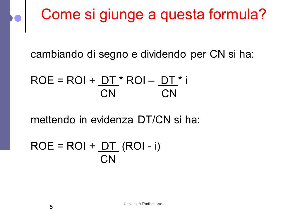 Università Parthenope 5 cambiando di segno e dividendo per CN si ha: ROE = ROI + DT * ROI – DT * i CN CN mettendo in evidenza DT/CN si ha: ROE = ROI + DT (ROI - i) CN Come si giunge a questa formula?