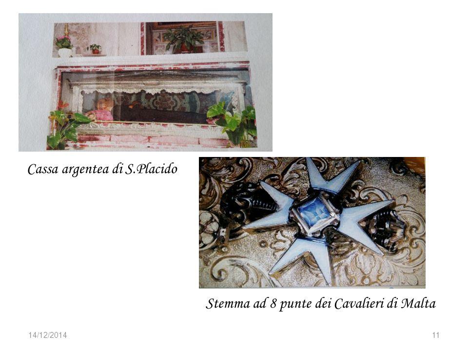 14/12/201411 Cassa argentea di S.Placido Stemma ad 8 punte dei Cavalieri di Malta