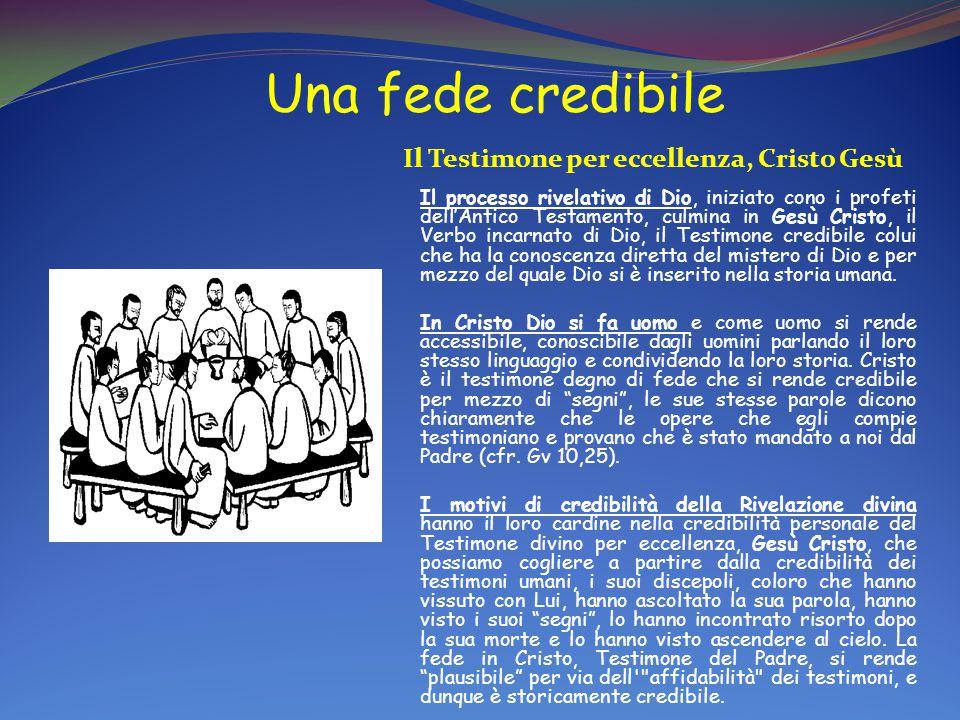 Una fede credibile Il Testimone per eccellenza, Cristo Gesù Il processo rivelativo di Dio, iniziato cono i profeti dell'Antico Testamento, culmina in