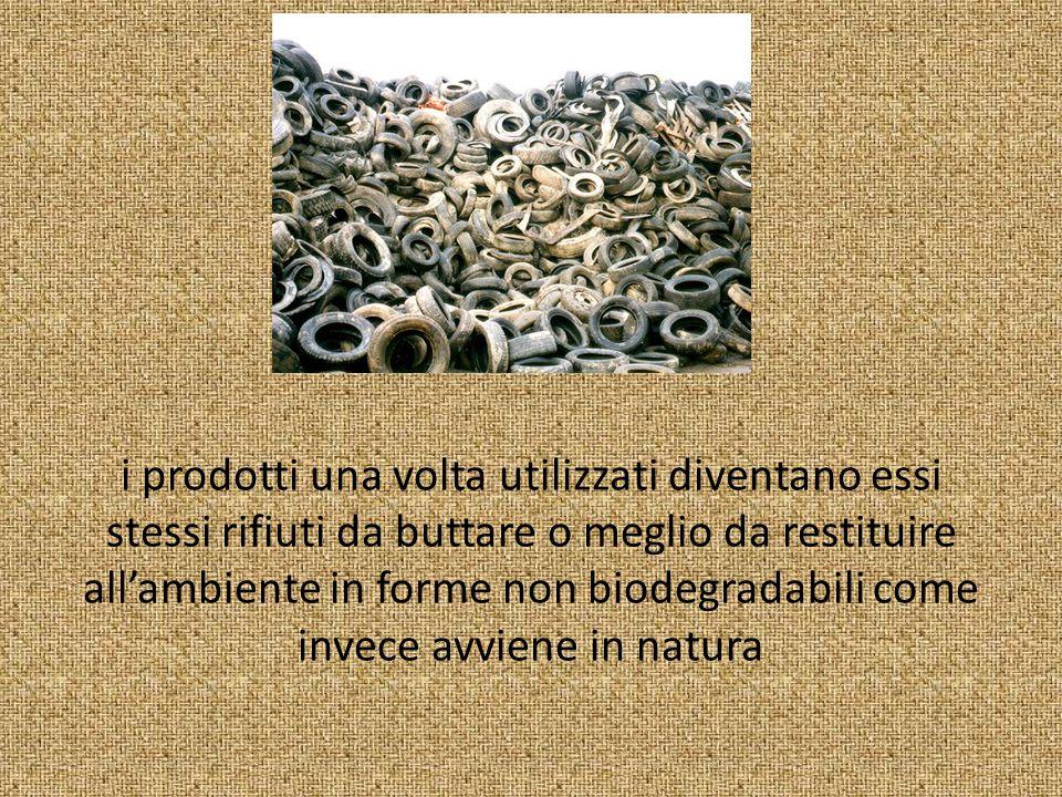 i prodotti una volta utilizzati diventano essi stessi rifiuti da buttare o meglio da restituire all'ambiente in forme non biodegradabili come invece avviene in natura