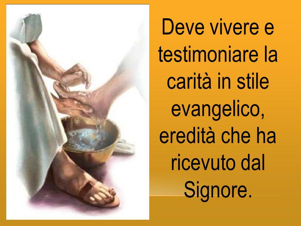 Deve vivere e testimoniare la carità in stile evangelico, eredità che ha ricevuto dal Signore.