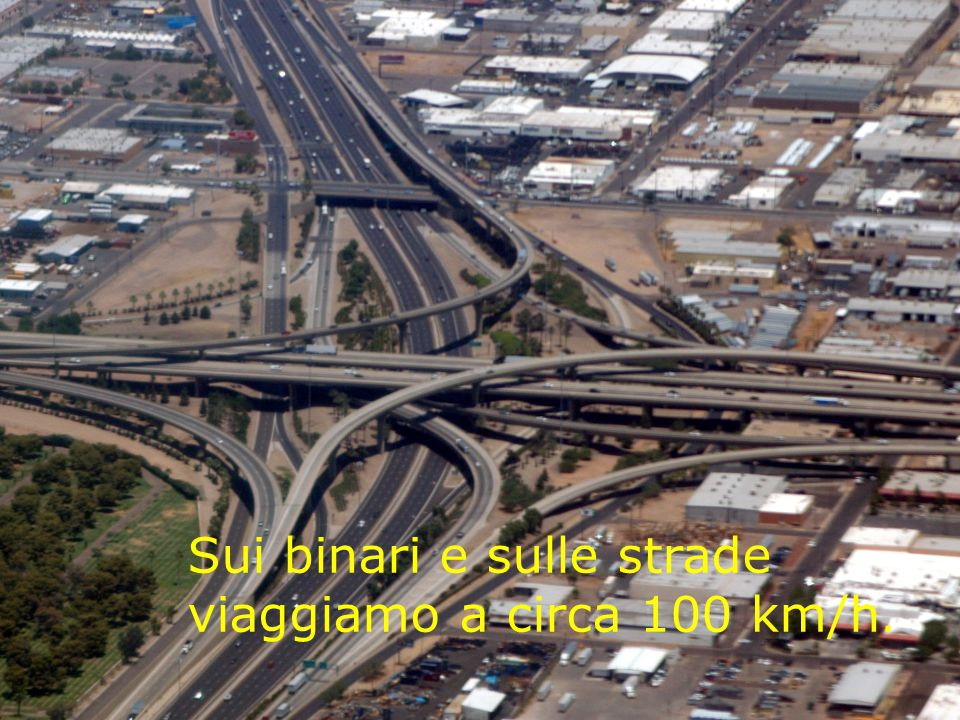 Sui binari e sulle strade viaggiamo a circa 100 km/h.