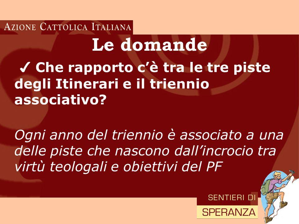 18 Le domande ✔ Che rapporto c'è tra le tre piste degli Itinerari e il triennio associativo.