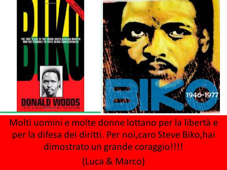 Molti uomini e molte donne lottano per la libertà e per la difesa dei diritti. Per noi,caro Steve Biko,hai dimostrato un grande coraggio!!!! (Luca & M
