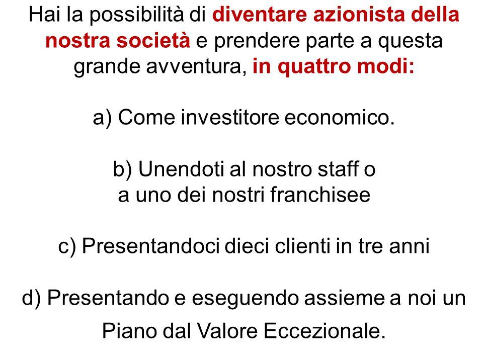Hai la possibilità di diventare azionista della nostra società e prendere parte a questa grande avventura, in quattro modi: a) Come investitore economico.