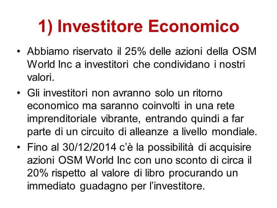 1) Investitore Economico Abbiamo riservato il 25% delle azioni della OSM World Inc a investitori che condividano i nostri valori. Gli investitori non