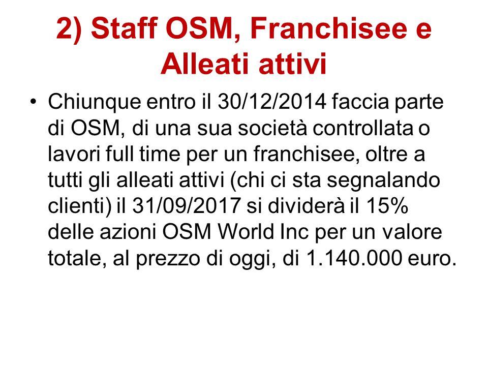 2) Staff OSM, Franchisee e Alleati attivi Chiunque entro il 30/12/2014 faccia parte di OSM, di una sua società controllata o lavori full time per un franchisee, oltre a tutti gli alleati attivi (chi ci sta segnalando clienti) il 31/09/2017 si dividerà il 15% delle azioni OSM World Inc per un valore totale, al prezzo di oggi, di 1.140.000 euro.