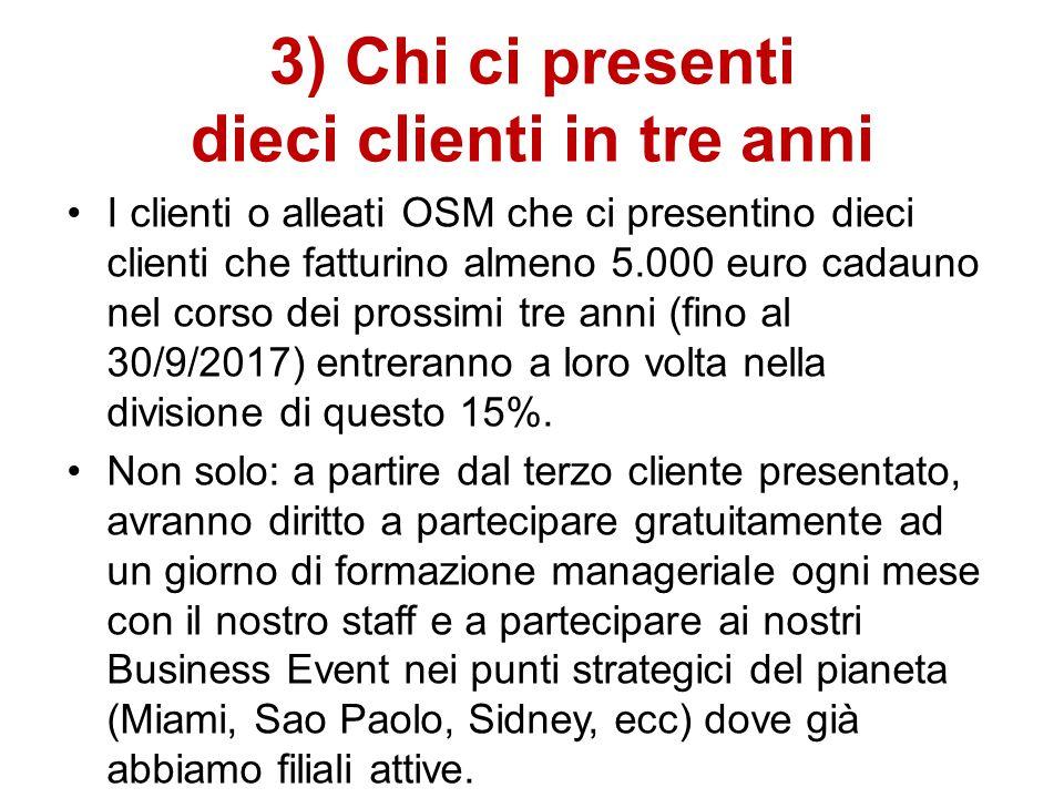 3) Chi ci presenti dieci clienti in tre anni I clienti o alleati OSM che ci presentino dieci clienti che fatturino almeno 5.000 euro cadauno nel corso