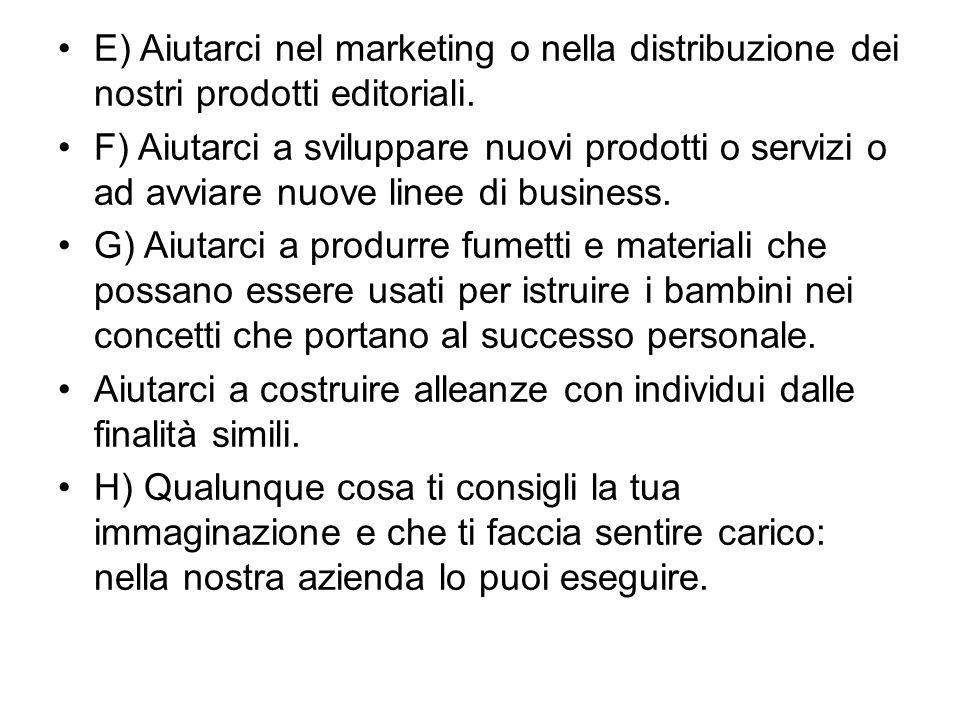 E) Aiutarci nel marketing o nella distribuzione dei nostri prodotti editoriali. F) Aiutarci a sviluppare nuovi prodotti o servizi o ad avviare nuove l