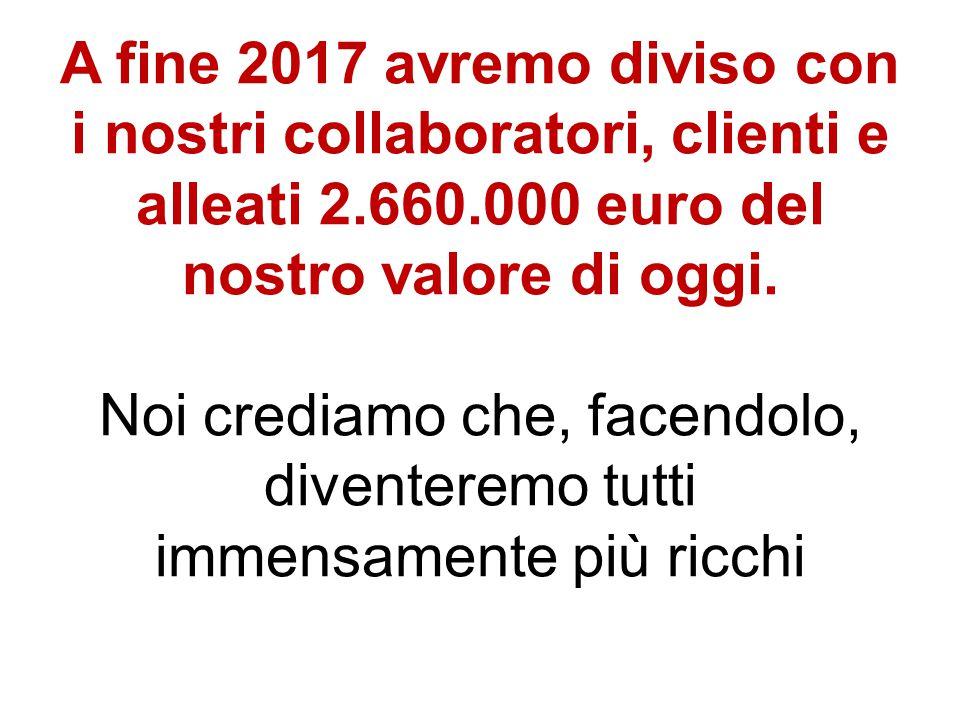 A fine 2017 avremo diviso con i nostri collaboratori, clienti e alleati 2.660.000 euro del nostro valore di oggi. Noi crediamo che, facendolo, divente