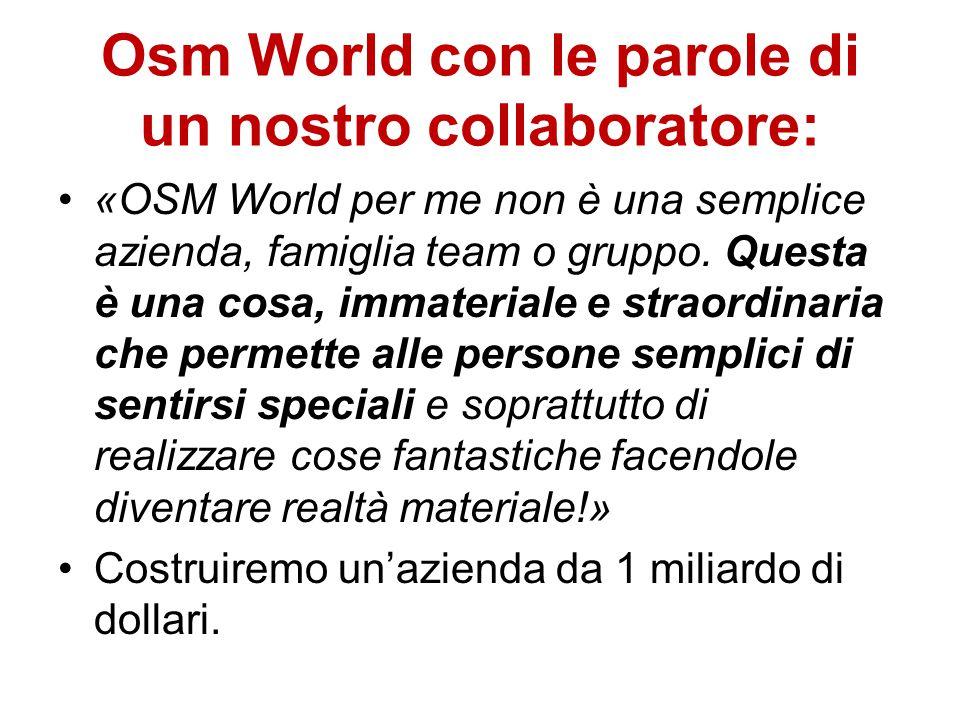 Osm World con le parole di un nostro collaboratore: «OSM World per me non è una semplice azienda, famiglia team o gruppo.