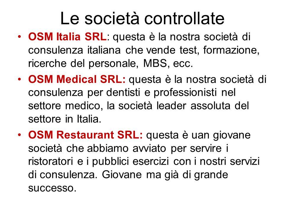Le società controllate OSM Italia SRL: questa è la nostra società di consulenza italiana che vende test, formazione, ricerche del personale, MBS, ecc.