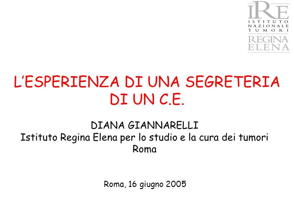 DIANA GIANNARELLI Istituto Regina Elena per lo studio e la cura dei tumori Roma L'ESPERIENZA DI UNA SEGRETERIA DI UN C.E. Roma, 16 giugno 2005