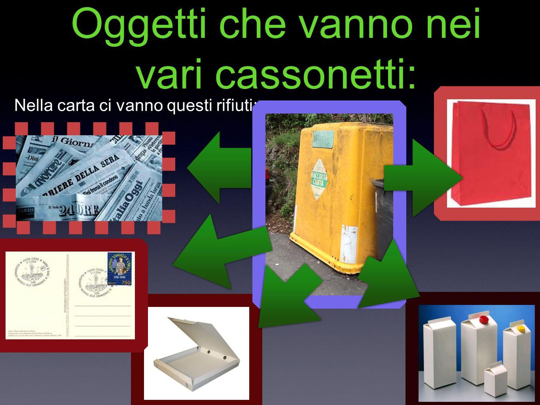Oggetti che vanno nei vari cassonetti: Nella carta ci vanno questi rifiuti: