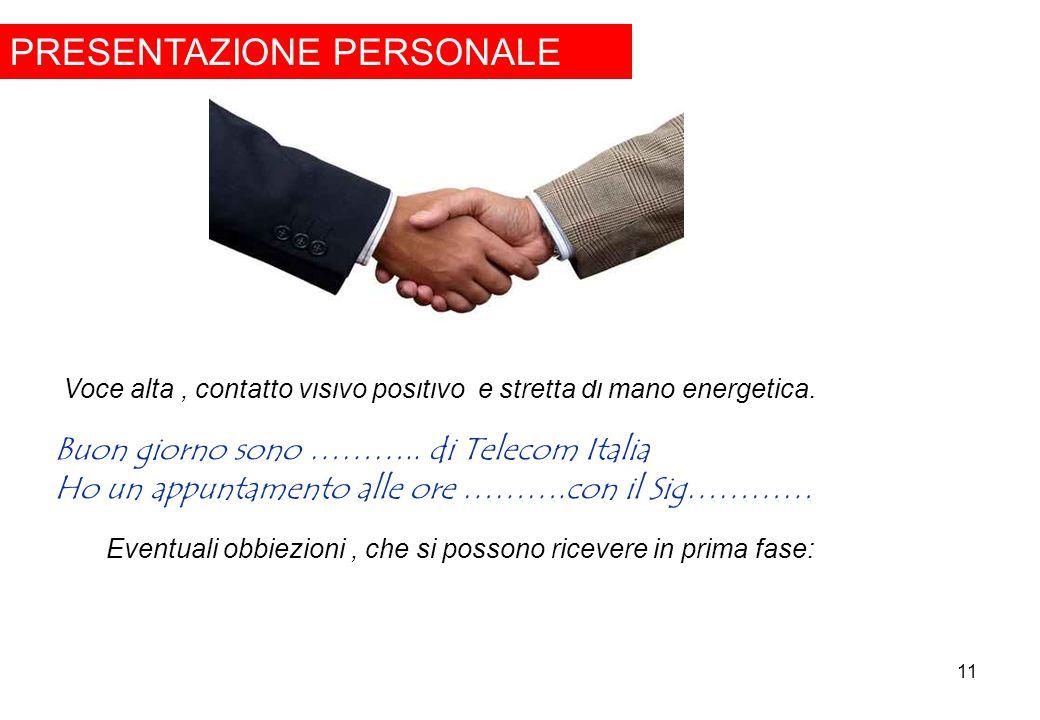 11 PRESENTAZIONE PERSONALE Voce alta, contatto visivo positivo e stretta di mano energetica. Buon giorno sono ……….. di Telecom Italia Ho un appuntamen