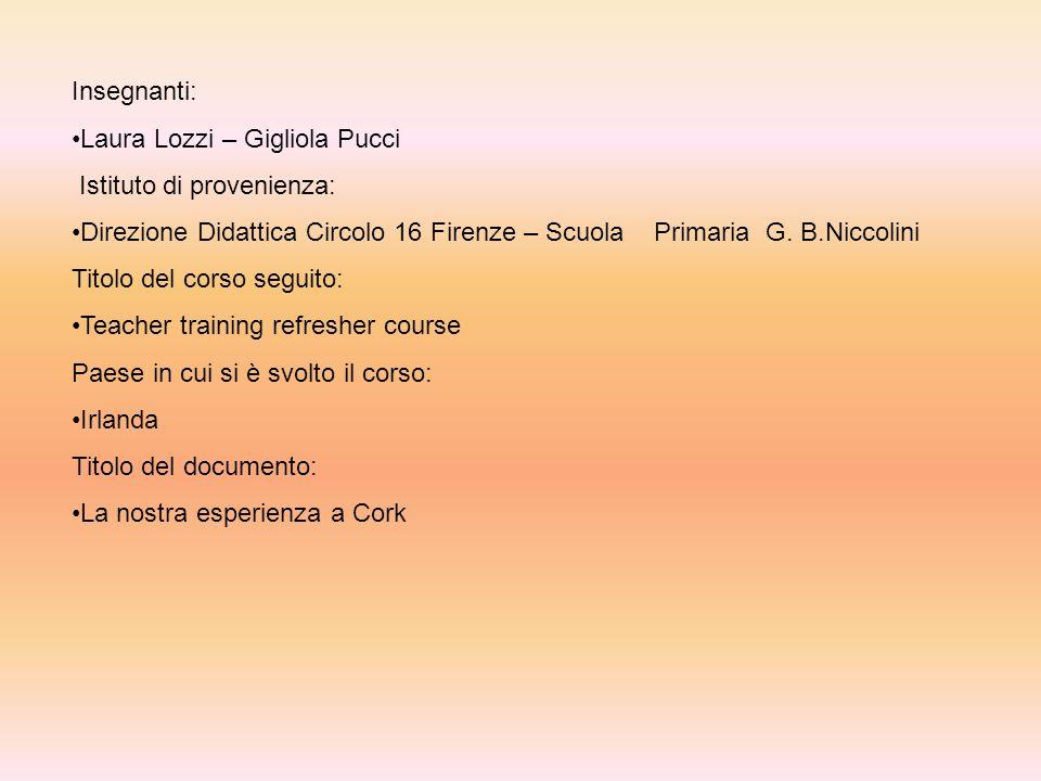 Insegnanti: Laura Lozzi – Gigliola Pucci Istituto di provenienza: Direzione Didattica Circolo 16 Firenze – Scuola Primaria G.