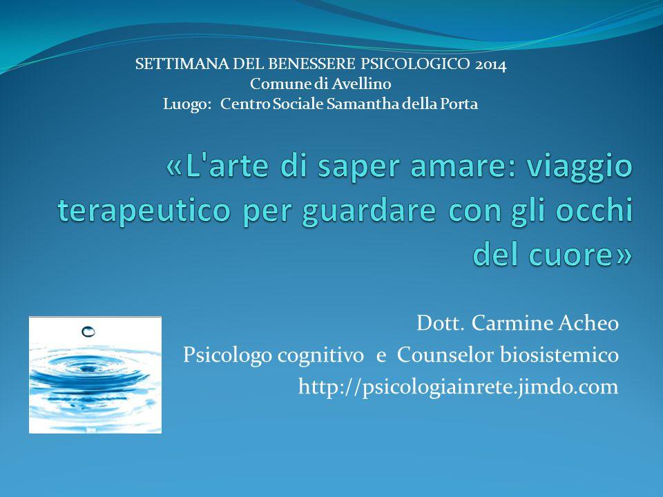 Dott. Carmine Acheo Psicologo cognitivo e Counselor biosistemico http://psicologiainrete.jimdo.com SETTIMANA DEL BENESSERE PSICOLOGICO 2014 Comune di
