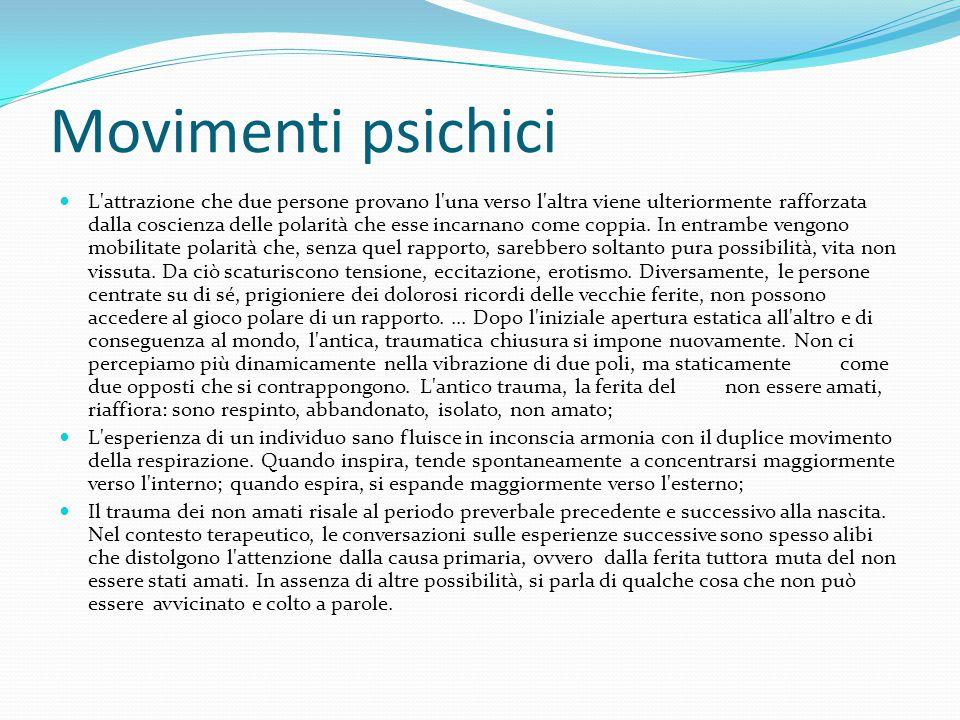 Movimenti psichici L'attrazione che due persone provano l'una verso l'altra viene ulteriormente rafforzata dalla coscienza delle polarità che esse inc