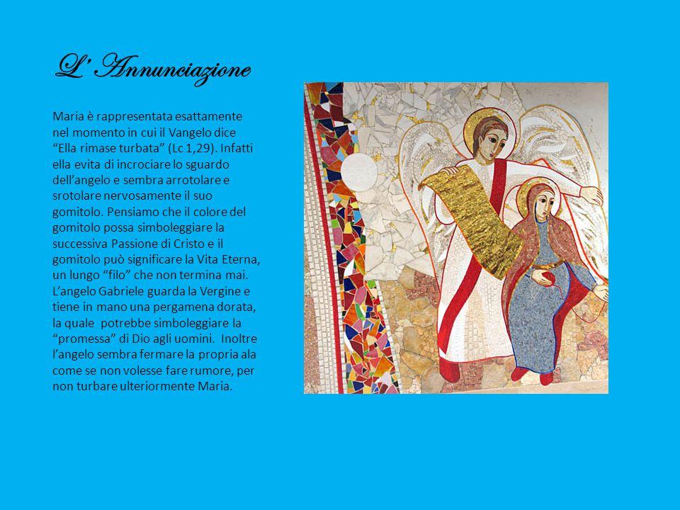 """L' Annunciazione Maria è rappresentata esattamente nel momento in cui il Vangelo dice """"Ella rimase turbata"""" (Lc 1,29). Infatti ella evita di incrociar"""