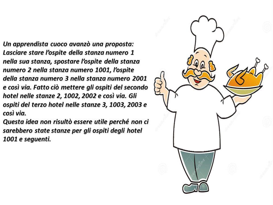 Un apprendista cuoco avanzò una proposta: Lasciare stare l'ospite della stanza numero 1 nella sua stanza, spostare l'ospite della stanza numero 2 nell