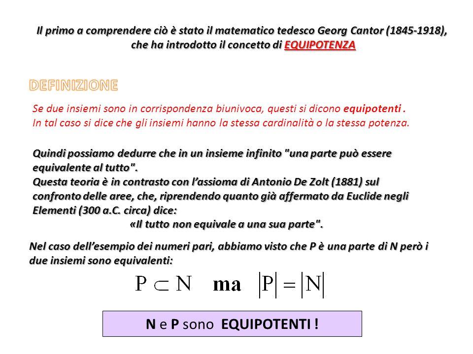 Il primo a comprendere ciò è stato il matematico tedesco Georg Cantor (1845-1918), che ha introdotto il concetto di EQUIPOTENZA che ha introdotto il c