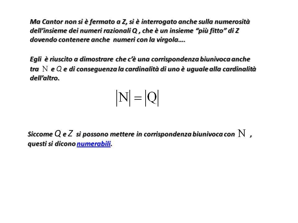 Egli è riuscito a dimostrare che c'è una corrispondenza biunivoca anche tra e e di conseguenza la cardinalità di uno è uguale alla cardinalità dell'al
