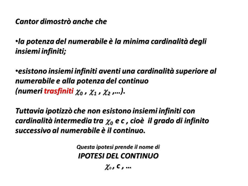 Cantor dimostrò anche che la potenza del numerabile è la minima cardinalità degli insiemi infiniti; la potenza del numerabile è la minima cardinalità