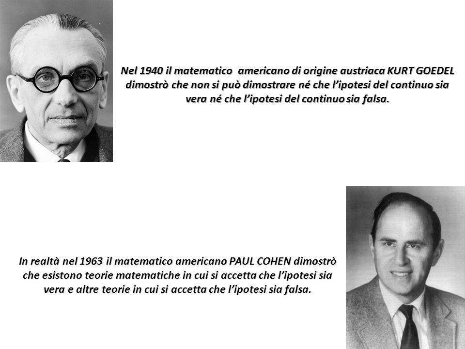 Nel 1940 il matematico americano di origine austriaca KURT GOEDEL dimostrò che non si può dimostrare né che l'ipotesi del continuo sia vera né che l'i