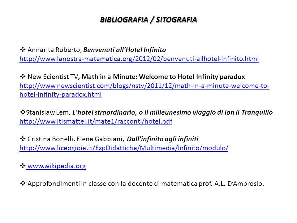 BIBLIOGRAFIA / SITOGRAFIA  Annarita Ruberto, Benvenuti all'Hotel Infinito http://www.lanostra-matematica.org/2012/02/benvenuti-allhotel-infinito.html