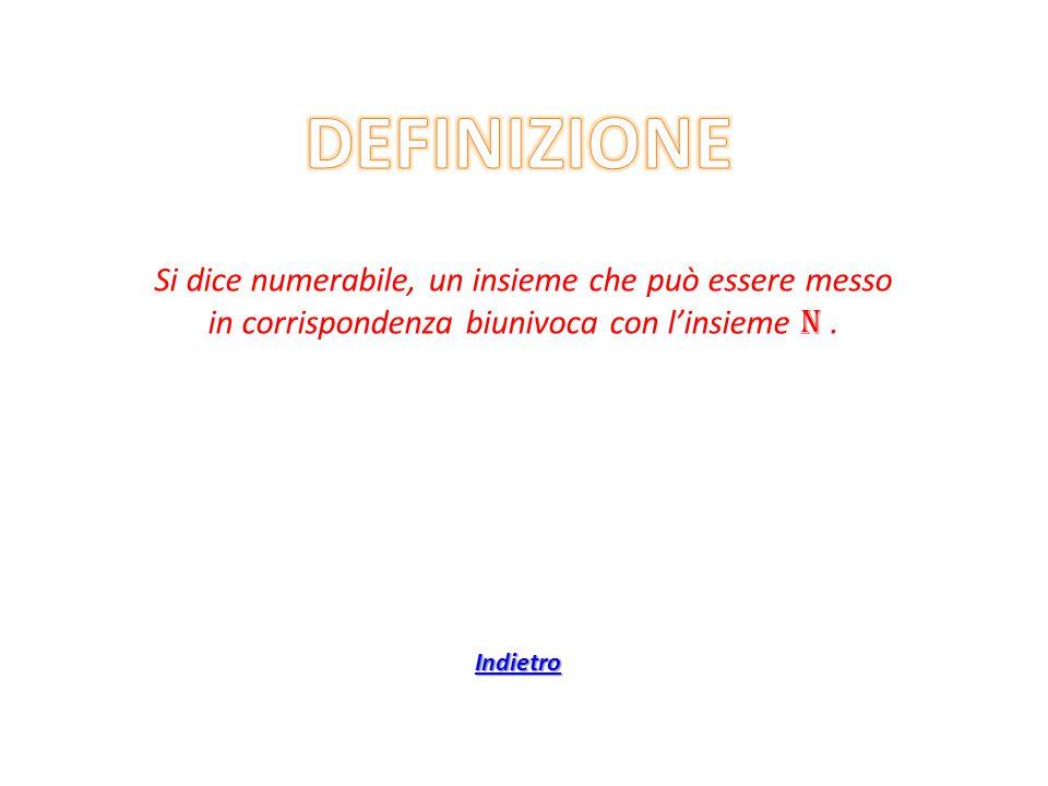 Si dice numerabile, un insieme che può essere messo in corrispondenza biunivoca con l'insieme N. Indietro