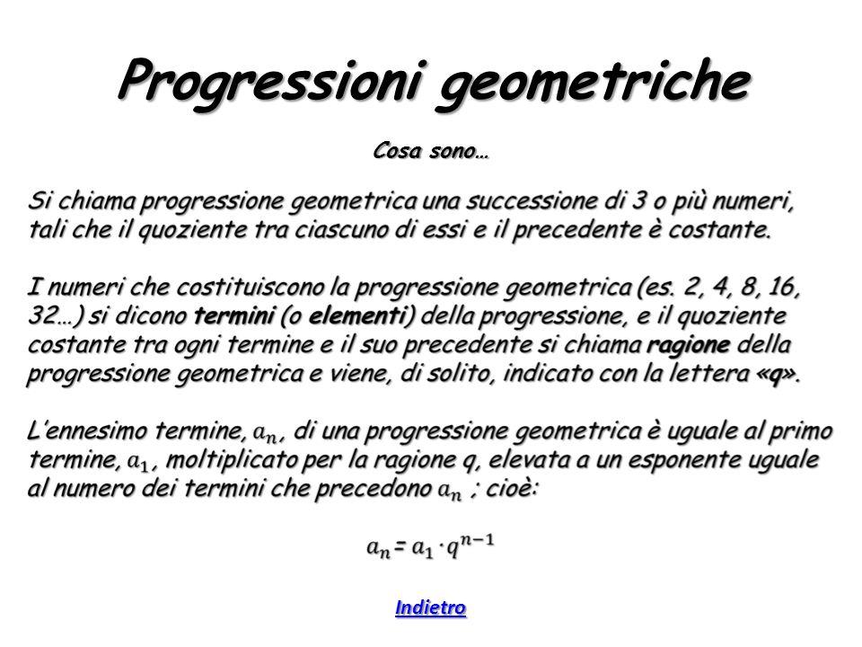 Progressioni geometriche Cosa sono… Indietro