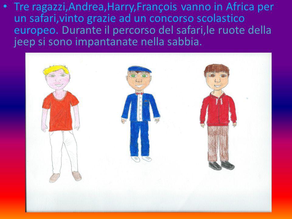 Tre ragazzi,Andrea,Harry,François vanno in Africa per un safari,vinto grazie ad un concorso scolastico europeo.