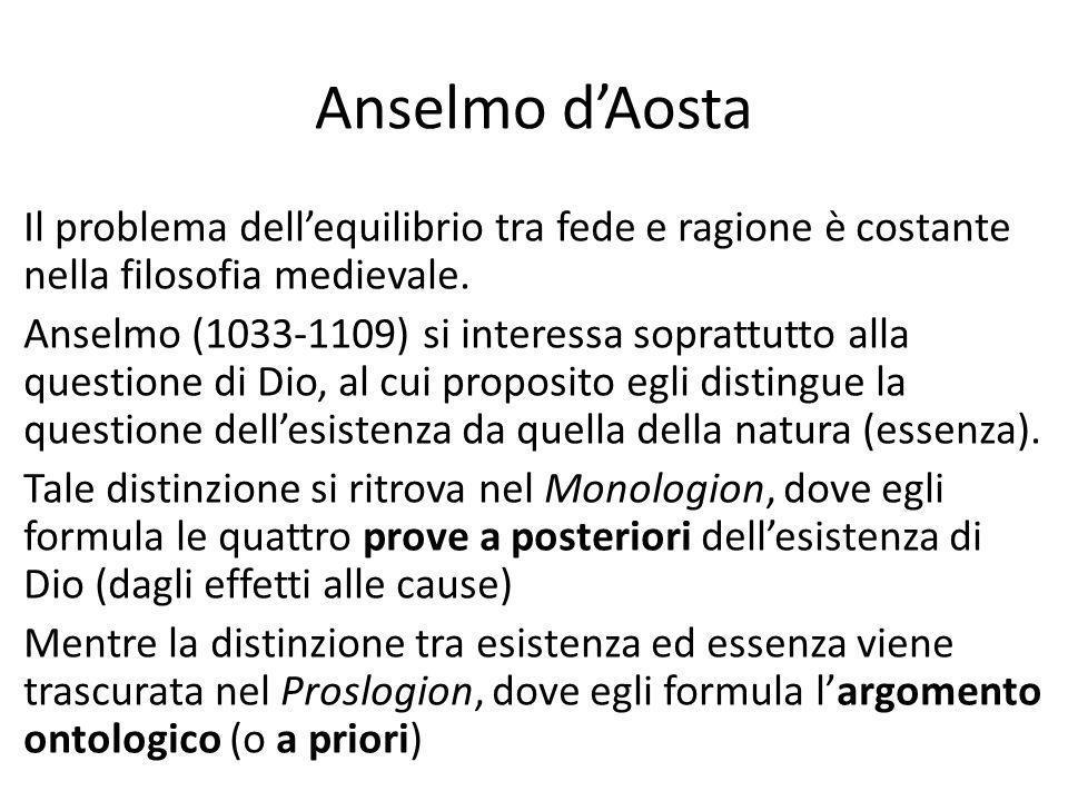 Anselmo d'Aosta Il problema dell'equilibrio tra fede e ragione è costante nella filosofia medievale.