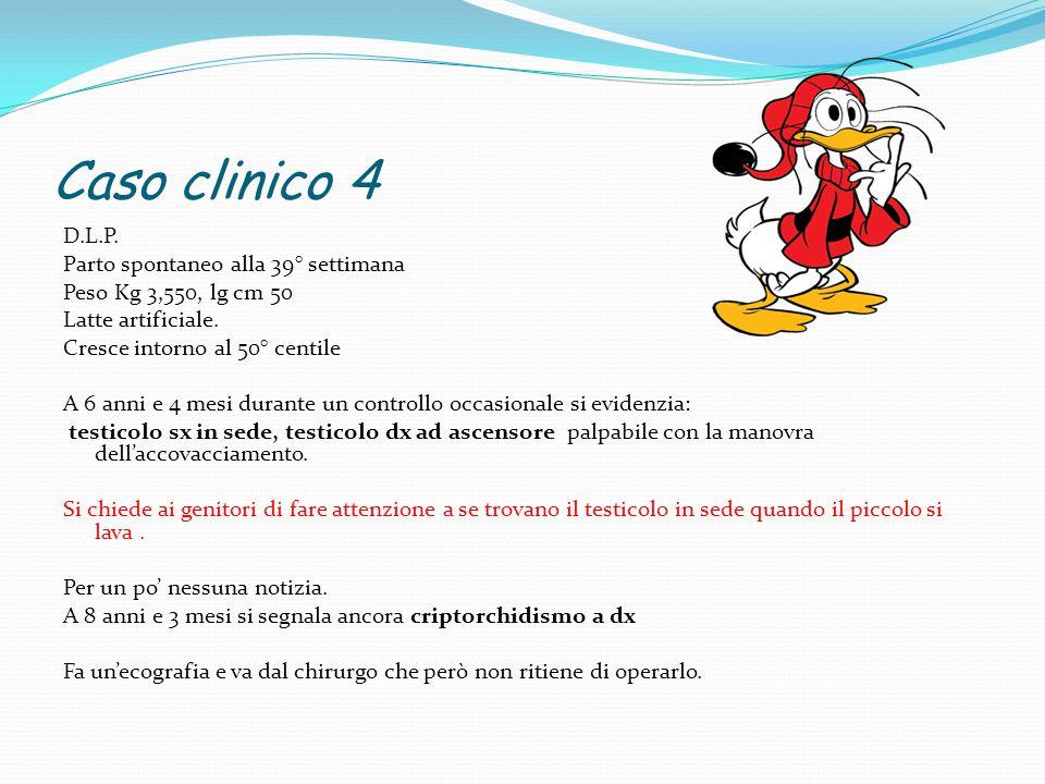 Caso clinico 4 D.L.P. Parto spontaneo alla 39° settimana Peso Kg 3,550, lg cm 50 Latte artificiale. Cresce intorno al 50° centile A 6 anni e 4 mesi du