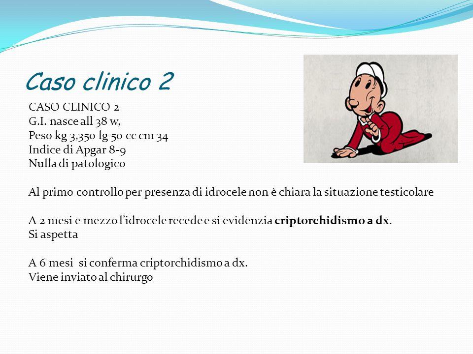 Caso clinico 2 CASO CLINICO 2 G.I. nasce all 38 w, Peso kg 3,350 lg 50 cc cm 34 Indice di Apgar 8-9 Nulla di patologico Al primo controllo per presenz