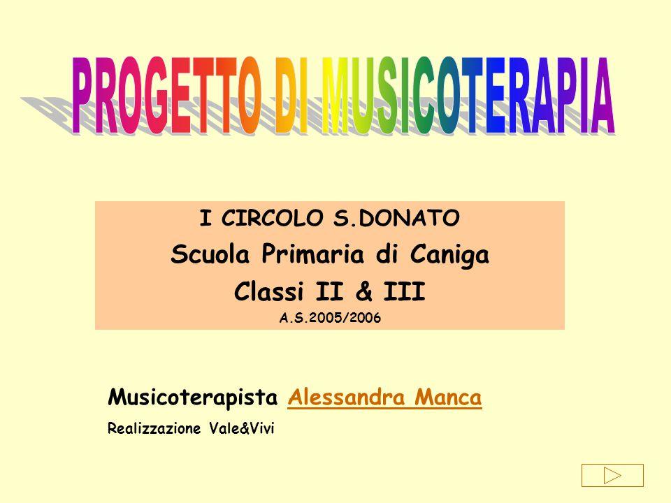 I CIRCOLO S.DONATO Scuola Primaria di Caniga Classi II & III A.S.2005/2006 Musicoterapista Alessandra MancaAlessandra Manca Realizzazione Vale&Vivi