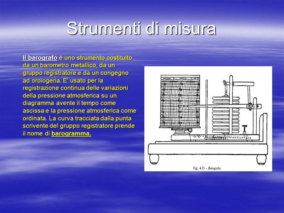 Strumenti di misura Il barografo è uno strumento costituito da un barometro metallico, da un gruppo registratore e da un congegno ad orologeria.