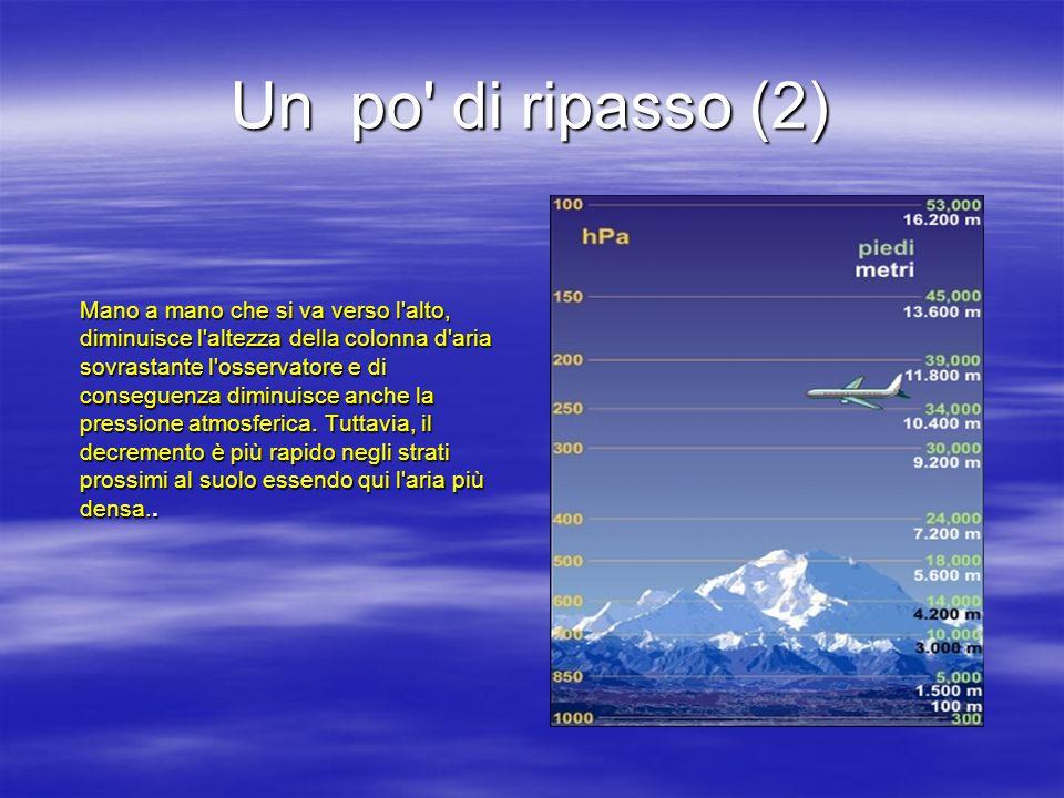 Un po di ripasso (2) Mano a mano che si va verso l alto, diminuisce l altezza della colonna d aria sovrastante l osservatore e di conseguenza diminuisce anche la pressione atmosferica.
