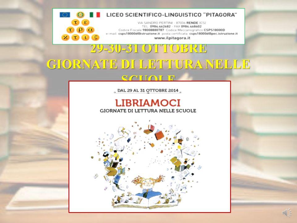 29-30-31 OTTOBRE GIORNATE DI LETTURA NELLE SCUOLE