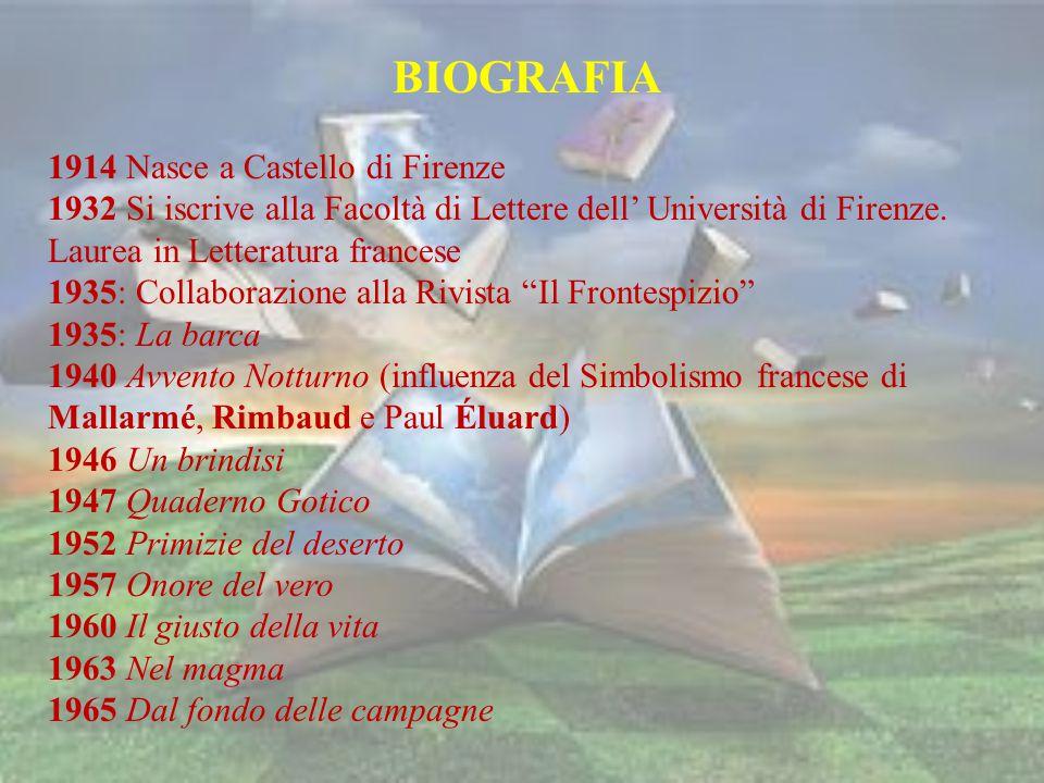 BIOGRAFIA 1914 Nasce a Castello di Firenze 1932 Si iscrive alla Facoltà di Lettere dell' Università di Firenze.