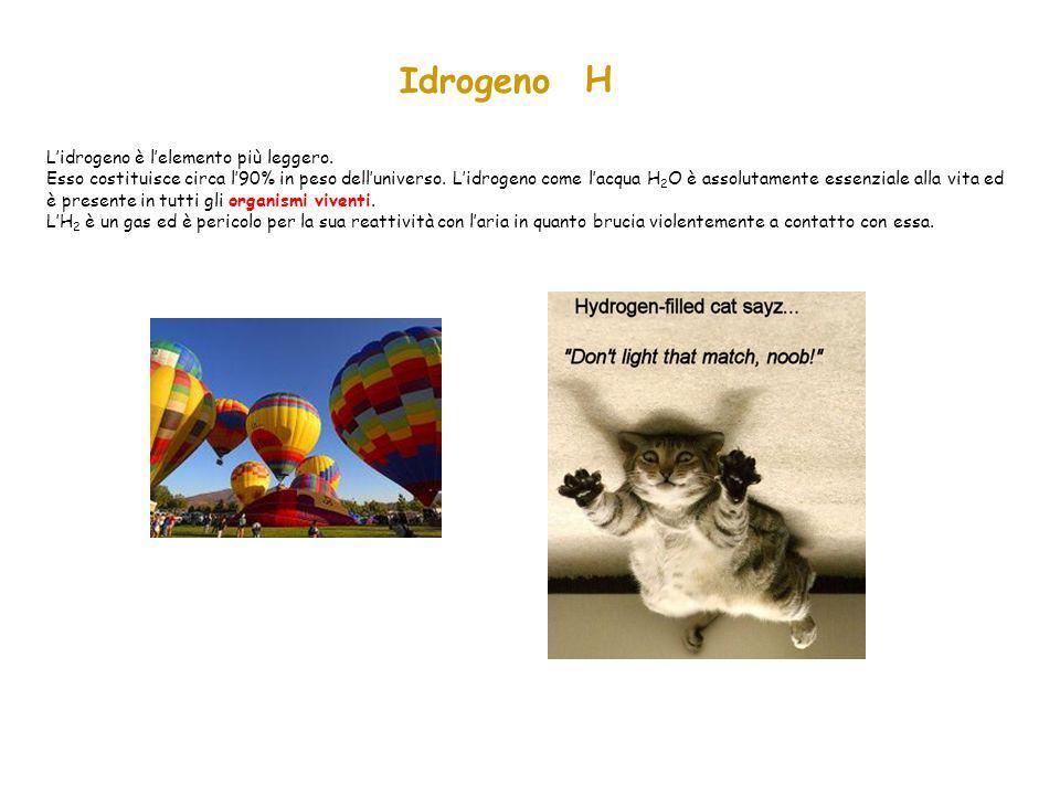 Idrogeno H L'idrogeno è l'elemento più leggero. Esso costituisce circa l'90% in peso dell'universo. L'idrogeno come l'acqua H 2 O è assolutamente esse