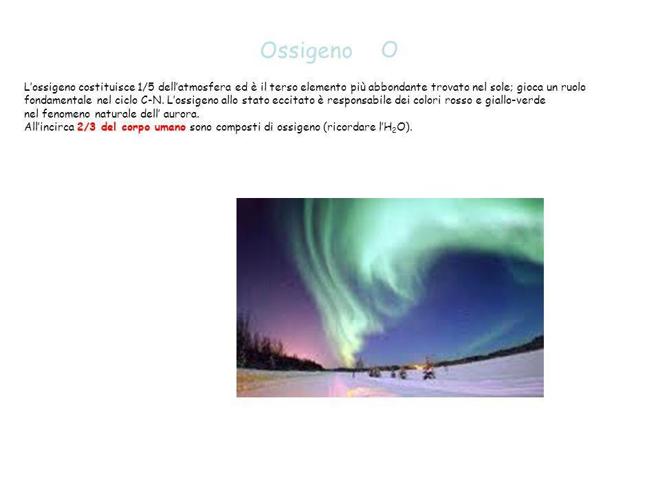 O Ossigeno L'ossigeno costituisce 1/5 dell'atmosfera ed è il terso elemento più abbondante trovato nel sole; gioca un ruolo fondamentale nel ciclo C-N
