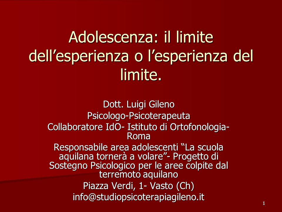 1 Adolescenza: il limite dell'esperienza o l'esperienza del limite.