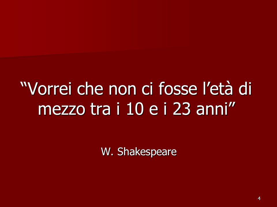 4 Vorrei che non ci fosse l'età di mezzo tra i 10 e i 23 anni W. Shakespeare