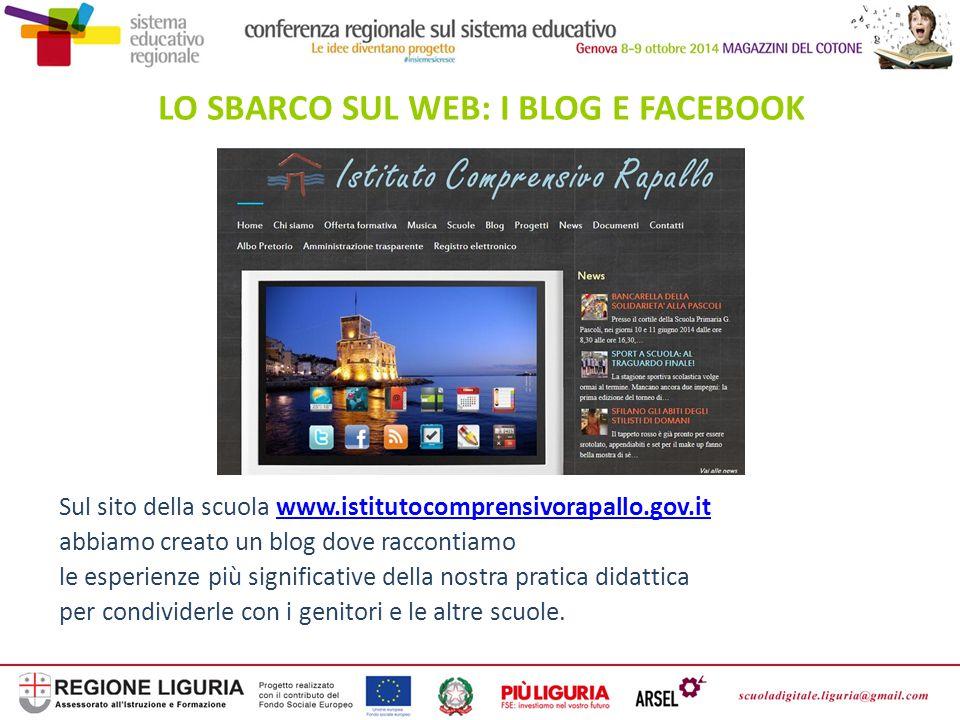 LO SBARCO SUL WEB: I BLOG E FACEBOOK Sul sito della scuola www.istitutocomprensivorapallo.gov.itwww.istitutocomprensivorapallo.gov.it abbiamo creato u