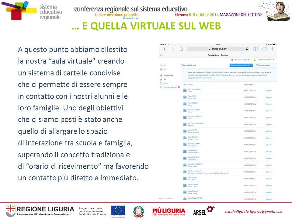 """… E QUELLA VIRTUALE SUL WEB A questo punto abbiamo allestito la nostra """"aula virtuale"""" creando un sistema di cartelle condivise che ci permette di ess"""