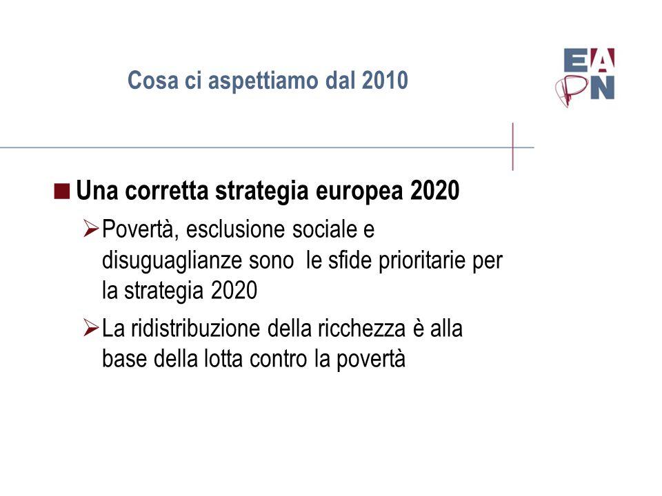 Cosa ci aspettiamo dal 2010  Una corretta strategia europea 2020  Povertà, esclusione sociale e disuguaglianze sono le sfide prioritarie per la strategia 2020  La ridistribuzione della ricchezza è alla base della lotta contro la povertà