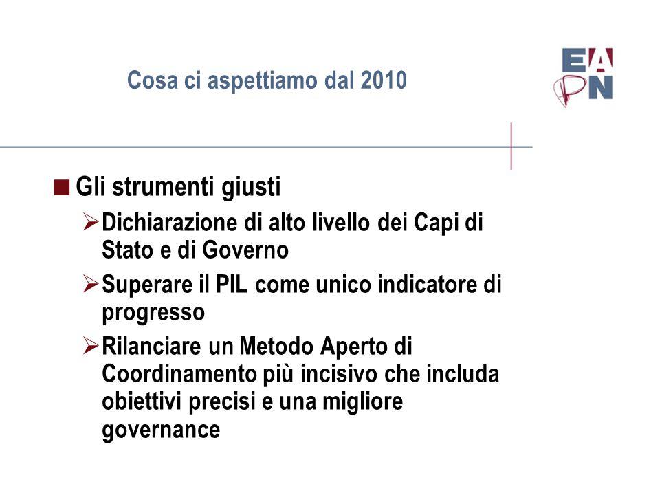 Cosa ci aspettiamo dal 2010  Gli strumenti giusti  Dichiarazione di alto livello dei Capi di Stato e di Governo  Superare il PIL come unico indicatore di progresso  Rilanciare un Metodo Aperto di Coordinamento più incisivo che includa obiettivi precisi e una migliore governance